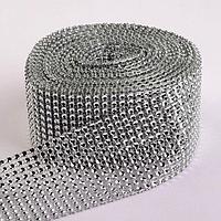 Лента с имитацией страз, 6 см, 9 ± 1 м, цвет серебряный