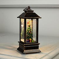 Фигура свет. 'Елка с подарками в бронзовом фонарике'12х5х5 см, 1 LED, Т/БЕЛЫЙ