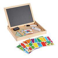 Конструктор магнитный 'Геометрия' в дерев коробке + набор игровых карточ, мел, маркер, губка