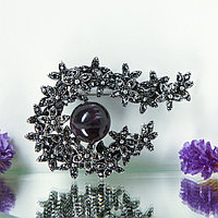 Брошь 'Соцветие' аметист, цвет серо-чёрный в чернёном серебре