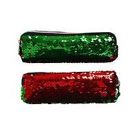 Пенал школьный, на молнии 'Пайетки' двухцветные, зелено-красные