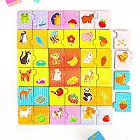 Пазл-набор 'Кто что ест' (двойной в дер.коробке), размер элемента 3.7 x 4 см