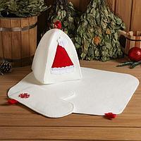 Набор банный подарочный 'С Новым годом' (коврик, рукавица, шапка), войлок, красный