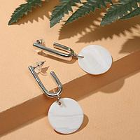 Серьги с перламутром 'Ракушка' кольцо, цвет белый в серебре