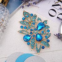 Брошь 'Императрица' роса, цвет голубой в золоте