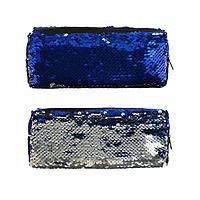 Пенал школьный на молнии 'Пайетки' двухцветные сине-серебристые