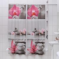 Штора для ванной комнаты Доляна 'Камни и орхидея', 180x180 см, EVA