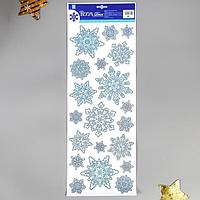 Декоративная наклейка Room Decor 'Снежинки с блёстками' 21х53 см