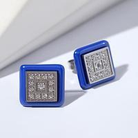 Пусеты керамика 'Квадрат', цвет синий в серебре