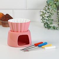 Набор для фондю 'Шоколадный фонтан' с 4 вилками, розовое