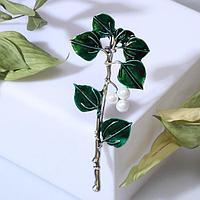 Брошь 'Длинная ветвь', цвет зелёно-белый в серебре