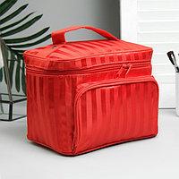 Косметичка-сундучок 'Полосы', отдел на молнии, наружный карман, зеркало, цвет красный