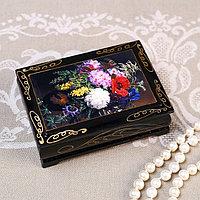 Шкатулка 'Букет цветов', 8x10 см, лаковая миниатюра