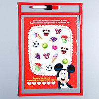Развивающая игра 'Пиши-стирай' в папке с карточками и маркером, Микки Маус и его друзья