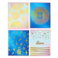 Тетрадь 60 листов в клетку, на гребне Be creative, обложка мелованный картон, тиснение фольгой, блок офсет,