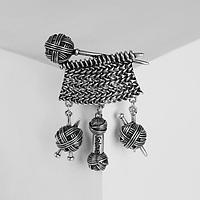 Брошь 'Вязание', цвет чернёного серебра