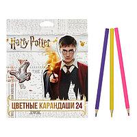Карандаши цветные 24 цвета 'Гарри Поттер', заточенные, картонная коробка, европодвес