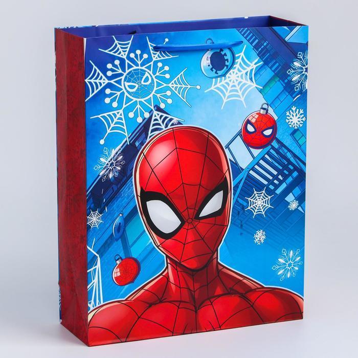 Пакет ламинат вертикальный 'С Новым годом!', 31х40х11 см, Человек-паук - фото 1