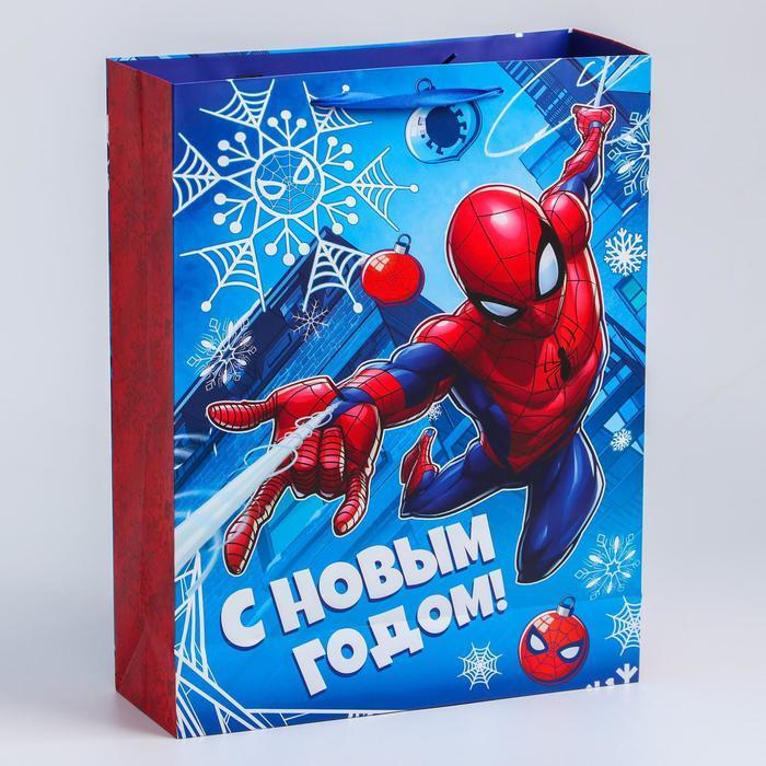 Пакет ламинат вертикальный 'С Новым годом!', 31х40х11 см, Человек-паук - фото 2