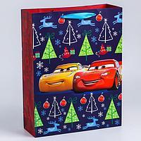 Пакет ламинат вертикальный 'С Новым годом!', 31х40х11 см, Тачки