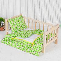 Постельное бельё для кукол 'Зайчики на зелёном', простынь, одеяло, подушка