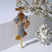 Брошь 'Дама' с цветочной корзинкой, цвет серебристо-золотой