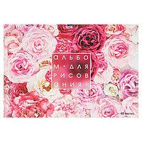 Альбом для рисования А4, 40 листов на скрепке 'Розы', обложка мелованный картон, блок 100 г/м (комплект из 2