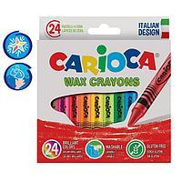 Мелки восковые 24 цвета Carioca 'Wax Crayons' 95 мм, диаметр 8 мм, круглые, в картонной коробке