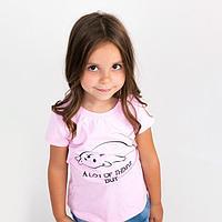 Футболка для девочки, цвет розовый, рост 128 см