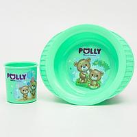 Набор посуды POLLY кружка 0,2 л., тарелка на присоске, цвет МИКС
