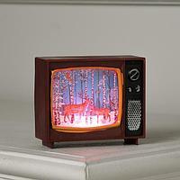 Фигура светодиодная 'Телевизор вишневый, с Оленями', 4х10х8 см, от бат. 3хLR44, RGB