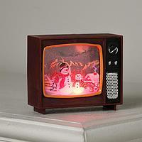 Фигура светодиодная 'Телевизор вишневый, Снеговики', 4х10х8 см, от бат. 3хLR44, RGB