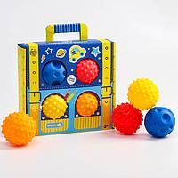 Подарочный набор массажных развивающих мячиков 'Чемоданчик', 4 шт., цвета/формы МИКС