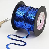 Тесьма декоративная с пайетками, 6 мм, 91 ± 1 м, цвет синий 5