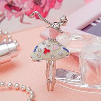 Брошь 'Балерина' цветная в серебре