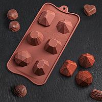Форма для льда и кондитерских украшений Доляна 'Драгоценные камни', 22,5x10,6 см, 6 ячеек (d4 см), цвет