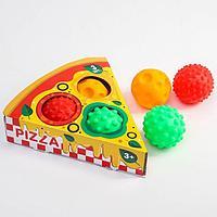 Подарочный набор развивающих, массажных мячиков 'Пицца', 3 шт., цвета и формы МИКС