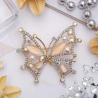 Брошь 'Бабочка' перламутровка, цвет радужный в золоте