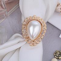 Кольцо для платка 'Барокко' капля, цвет белый в золоте