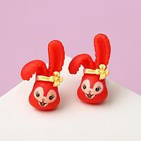 Пусеты детские 'Кролик с бантиком', цвет жёлто-красный