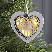 Подвеска световая 'Сердце новогоднее белое', 10х10х2 см, 4 LED, бат(в комп) Т/БЕЛЫЙ