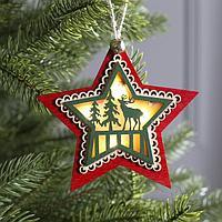 Подвеска световая 'Звезда новогодняя красная', 10х10х2 см, 4 LED, бат(в комп) Т/БЕЛЫЙ