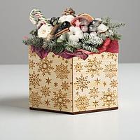 Кашпо флористическое 'Снежинки', шестигранник, 15 х 13 х 10 см