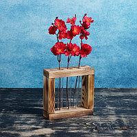 Кашпо деревянное 20x5.5x20 см с 3 колбами 'Рамка Мини', обжиг Дарим Красиво