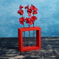 Кашпо деревянное 20x5.5x20 см с 3 колбами 'Рамка Мини', красный Дарим Красиво