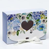 Подарочная коробка сборная с окном 'Лиловые цветы', 16,5 х 11, 5 х 5 см (комплект из 5 шт.)
