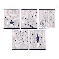 Тетрадь 48 листов в клетку 'Занавески и коты', обложка мелованный картон, тиснение фольгой, блок офсет, МИКС
