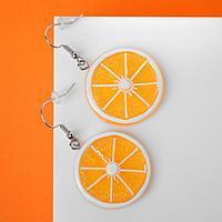Серьги пластик 'Вкусности' апельсин, цвет жёлтый