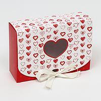 Подарочная коробка сборная с окном 'Сердца', 16,5 х 11,5 х 5 см (комплект из 5 шт.)