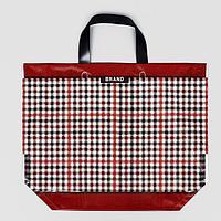 Эко сумка с петлевой ручкой 'Клетка' 50х40 см, 160 мкм (комплект из 10 шт.)